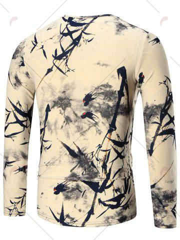 Fashion Bamboo Print Long Sleeve T-shirt - 2XL COLORMIX Mobile