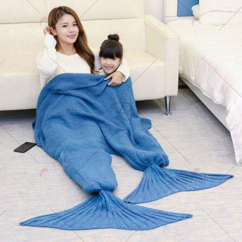Outfit Crocheted Mother and Daughter Mermaid Blanket - 180*145CM LIGHT BLUE Mobile