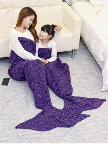 Outfits Crocheted Mother and Daughter Mermaid Blanket - 180*145CM PURPLE Mobile