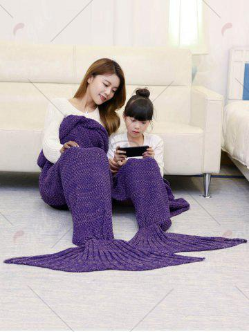 Fashion Crocheted Mother and Daughter Mermaid Blanket - 180*145CM PURPLE Mobile