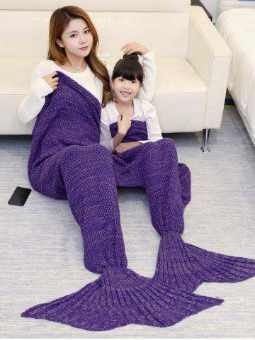 Crocheted Mother and Daughter Mermaid Blanket - Purple - 180*145cm
