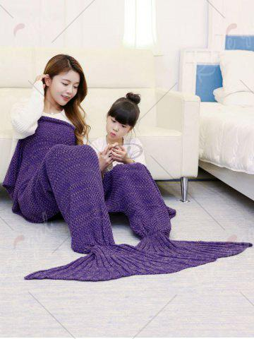 Unique Crocheted Mother and Daughter Mermaid Blanket - 180*145CM PURPLE Mobile