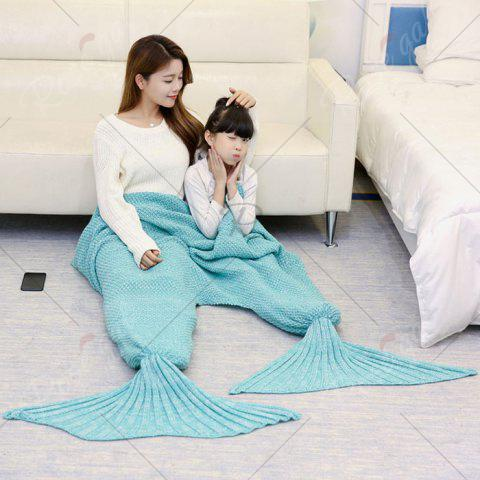 Fashion Crocheted Mother and Daughter Mermaid Blanket - 180*145CM GREEN Mobile