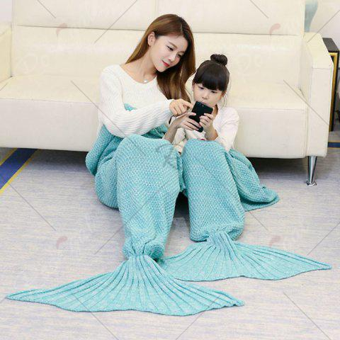 Affordable Crocheted Mother and Daughter Mermaid Blanket - 180*145CM GREEN Mobile