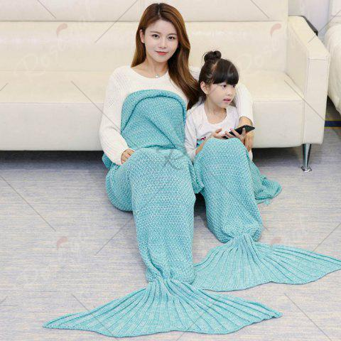 Online Crocheted Mother and Daughter Mermaid Blanket - 180*145CM GREEN Mobile