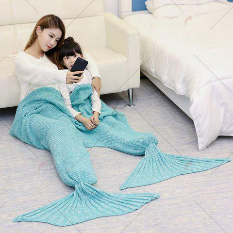 Hot Crocheted Mother and Daughter Mermaid Blanket - 180*145CM GREEN Mobile