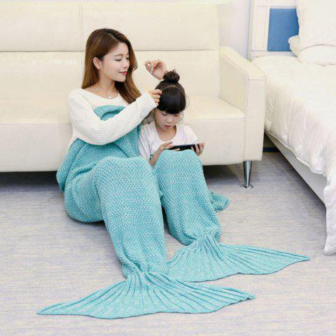 Sale Crocheted Mother and Daughter Mermaid Blanket GREEN 180*145CM