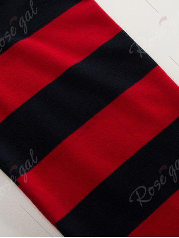 Online Stripe Anchor Embroidered Long Sleeve T-shirt - M RED Mobile