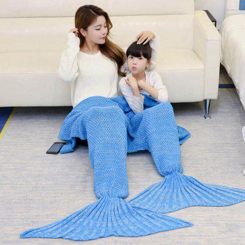 Outfit Crocheted Mother and Daughter Mermaid Blanket ICE BLUE 180*145CM