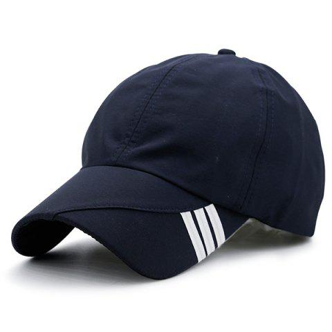 Diagonal Striped Embellished Baseball Cap - Purplish Blue