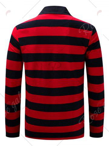 Hot Stripe Anchor Embroidered Long Sleeve T-shirt - L RED Mobile