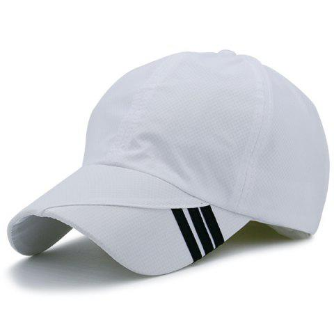 Online Diagonal Striped Embellished Baseball Cap - WHITE  Mobile
