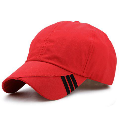New Diagonal Striped Embellished Baseball Cap - RED  Mobile