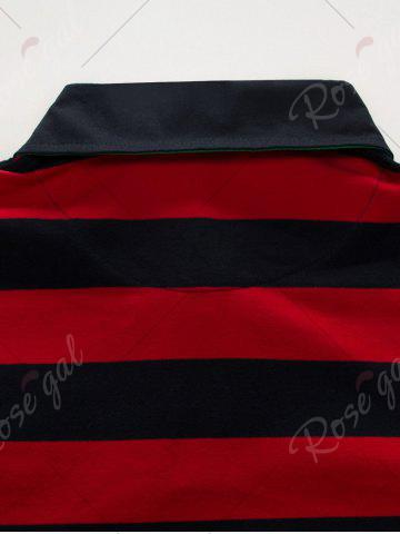 Fancy Stripe Anchor Embroidered Long Sleeve T-shirt - 3XL RED Mobile