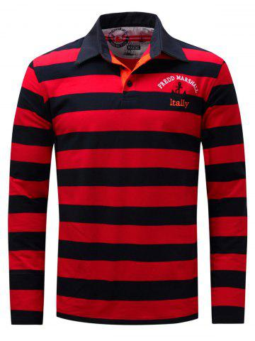Stripe Anchor Embroidered Long Sleeve T-shirt - Red - 3xl