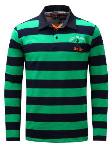 Trendy Stripe Anchor Embroidered Long Sleeve T-shirt - 2XL GREEN Mobile