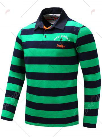 Fancy Stripe Anchor Embroidered Long Sleeve T-shirt - XL GREEN Mobile