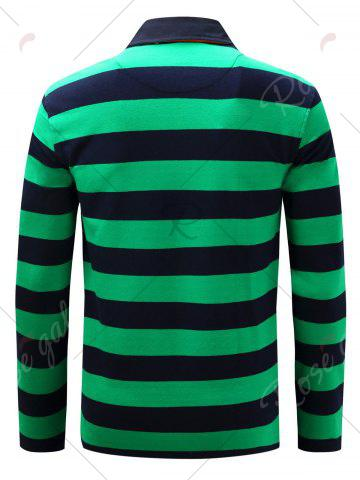 Fashion Stripe Anchor Embroidered Long Sleeve T-shirt - M GREEN Mobile