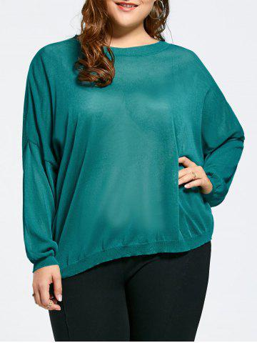 Affordable Drop Shoulder Knit Plus Size Tunic Sweater MALACHITE GREEN ONE SIZE