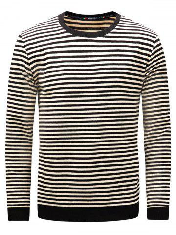 Chic Stripe Long Sleeve Pullover Sweatshirt - M BLACK Mobile