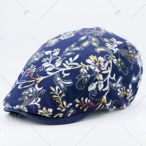 Outfit Floral Printing Warm Retro Newsboy Hat - DEEP BLUE  Mobile