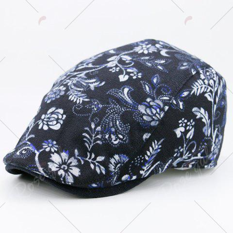 Hot Floral Printing Warm Retro Newsboy Hat - BLACK  Mobile