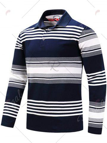 Shop Polo Collar Long Sleeve Stripe T-shirt - L BLUE AND WHITE Mobile