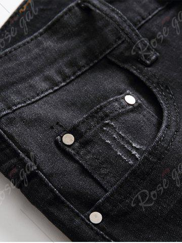 Outfit Scratched Zip Fly Denim Shorts - 32 BLACK GREY Mobile