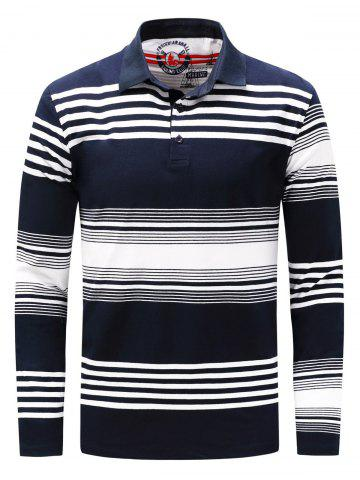 Outfit Polo Collar Long Sleeve Stripe T-shirt - 2XL BLUE AND WHITE Mobile