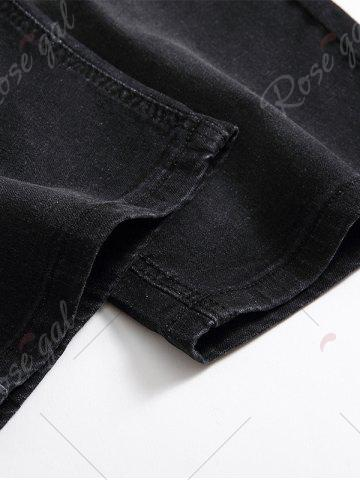 New Scratched Zip Fly Denim Shorts - 34 BLACK GREY Mobile
