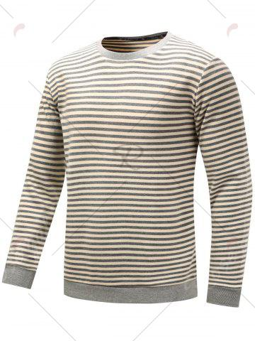 Outfits Stripe Long Sleeve Pullover Sweatshirt - 2XL GRAY Mobile
