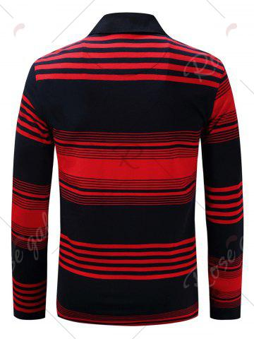 Shop Polo Collar Long Sleeve Stripe T-shirt - 3XL BLUE AND RED Mobile