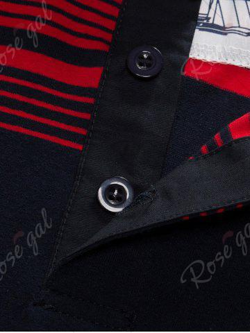Unique Polo Collar Long Sleeve Stripe T-shirt - 3XL BLUE AND RED Mobile