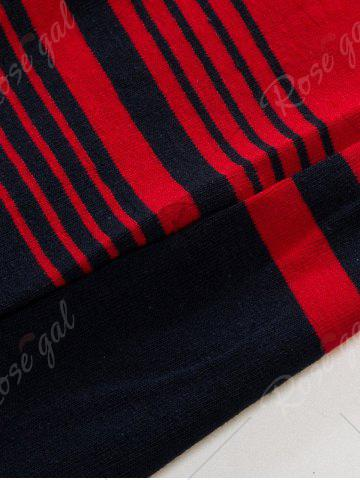 Unique Polo Collar Long Sleeve Stripe T-shirt - 2XL BLUE AND RED Mobile