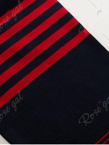 Shop Polo Collar Long Sleeve Stripe T-shirt - 2XL BLUE AND RED Mobile