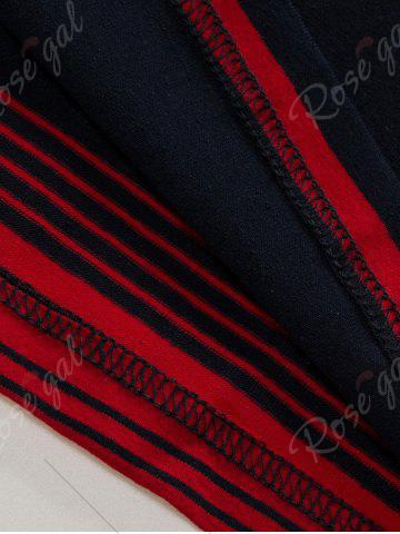 Latest Polo Collar Long Sleeve Stripe T-shirt - 2XL BLUE AND RED Mobile