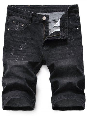 Shop Scratched Zip Fly Denim Shorts - 38 BLACK GREY Mobile