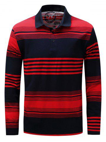 Online Polo Collar Long Sleeve Stripe T-shirt - XL BLUE AND RED Mobile