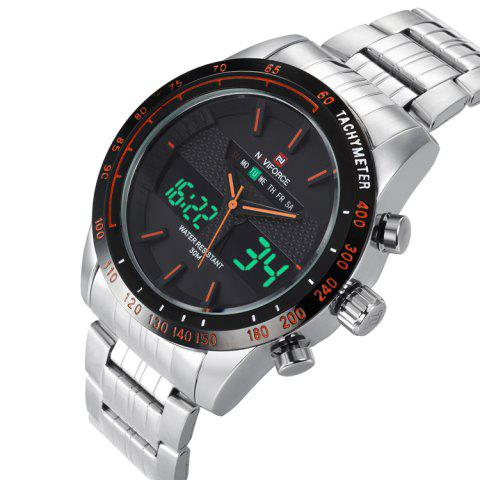 Fancy NAVIFORCE 9024 Tachymeter Luminous Quartz Digital Watch - ORANGE  Mobile