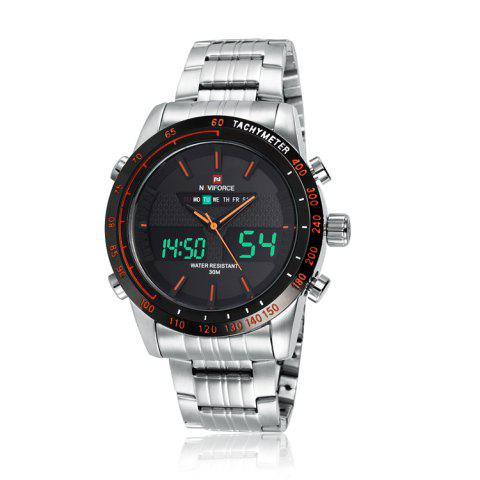 Latest NAVIFORCE 9024 Tachymeter Luminous Quartz Digital Watch ORANGE