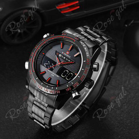 Sale NAVIFORCE 9024 Luminous Tachymeter Analog Digital Watch - RED  Mobile