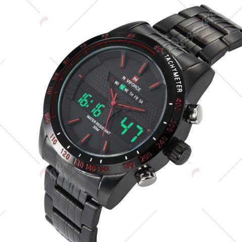 Affordable NAVIFORCE 9024 Luminous Tachymeter Analog Digital Watch - RED  Mobile