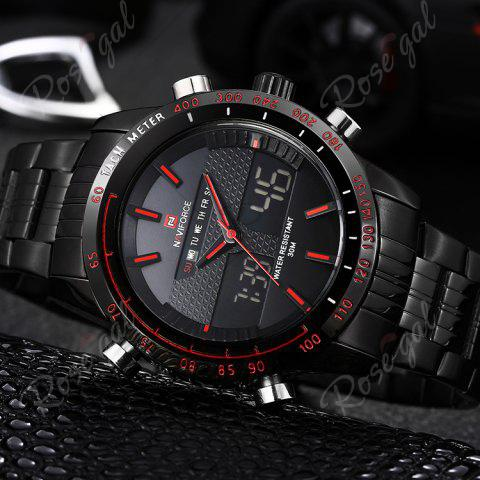 Online NAVIFORCE 9024 Luminous Tachymeter Analog Digital Watch - RED  Mobile