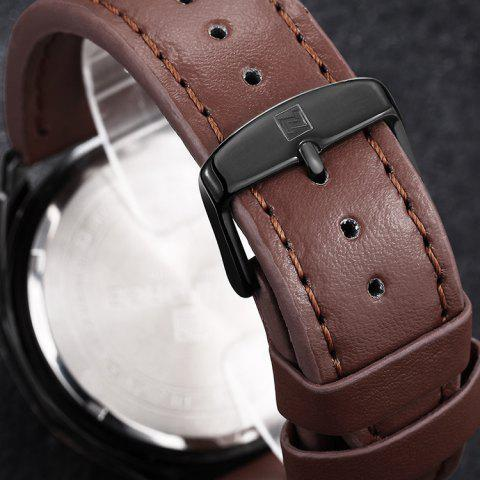 Online NAVIFORCE 9056 Faux Leather Strap Luminous Date Watch - BROWN LEATHER BAND+BLACK DIAL  Mobile