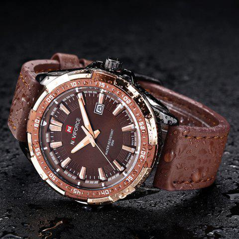 New NAVIFORCE 9056 Faux Leather Strap Luminous Date Watch - BROWN LEATHER BAND+BLACK DIAL  Mobile