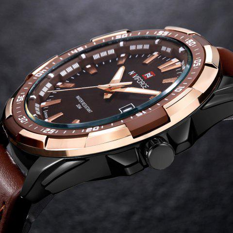 Sale NAVIFORCE 9056 Faux Leather Strap Luminous Date Watch - BROWN LEATHER BAND+BLACK DIAL  Mobile