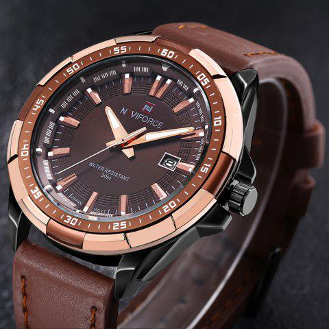 Shops NAVIFORCE 9056 Faux Leather Strap Luminous Date Watch - BROWN LEATHER BAND+BLACK DIAL  Mobile