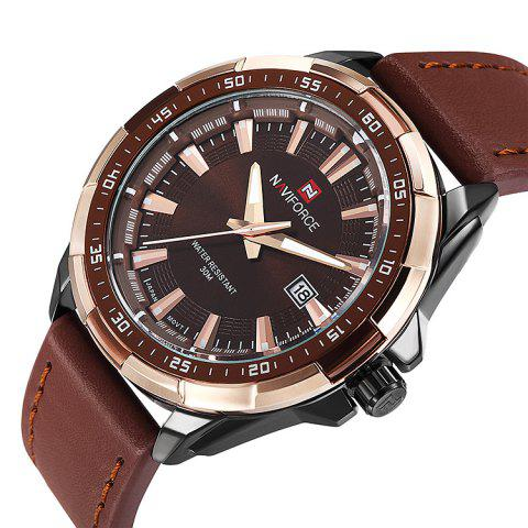 Trendy NAVIFORCE 9056 Faux Leather Strap Luminous Date Watch - BROWN LEATHER BAND+BLACK DIAL  Mobile