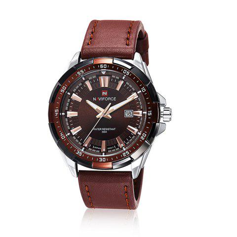 Shops NAVIFORCE 9056 Faux Leather Strap Luminous Date Watch