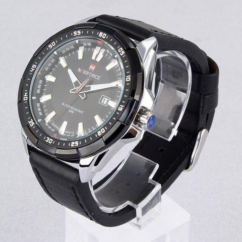 Online NAVIFORCE 9056 Faux Leather Strap Luminous Date Watch - BLACK LEATHER BAND+WHITE DIAL  Mobile